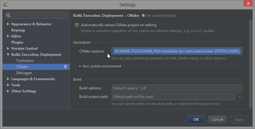 Embedded CLion EAP: forcing arm-eabi-gcc onto cmake on